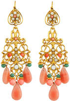 Jose & Maria Barrera Coral- & Jade-Hued Chandelier Earrings, Multi