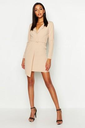 boohoo Tall Self Fabric Belted Blazer Dress