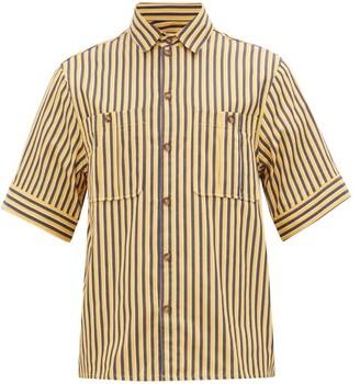 KING & TUCKFIELD Patch-pocket Striped Cotton-blend Shirt - Yellow Navy