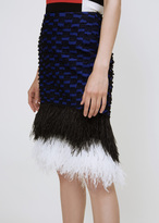 Proenza Schouler indigo / black ostrich feather pencil skirt