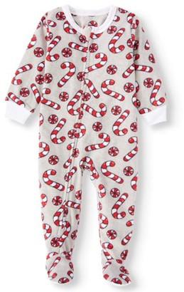 Jolly Jammies Matching Family Christmas Pajamas Baby Boy or Girl Unisex Candy Microfleece Blanket Sleeper