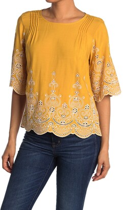 MelloDay Contrast Embroidered Bell Sleeve Blouse