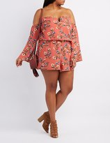 Charlotte Russe Plus Size Floral Notched Off-The-Shoulder Romper