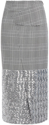 Roland Mouret Abrams Sequin-embellished Prince Of Wales Checked Wool-blend Midi Skirt