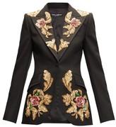 Dolce & Gabbana Floral-sequinned Single-breasted Wool-blend Blazer - Womens - Black Multi