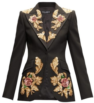 Dolce & Gabbana Floral-sequinned Single-breasted Wool-blend Blazer - Black Multi