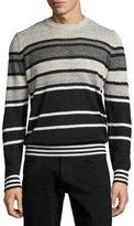 Diesel Striped Crewneck Sweater, Black