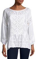 Johnny Was Sunshine Lace Georgette Top, White