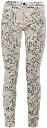 7 For All Mankind Snake-print Mid-rise Skinny Jeans