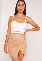 Missguided Wrap Lace Mini Skirt Tan