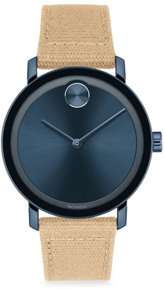 Movado Bold Evolution Stainless Steel Canvas-Strap Watch