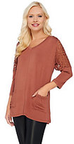 As Is LOGO by Lori Goldstein 3/4 Sleeve Knit Top with Lace Shoulder Detail