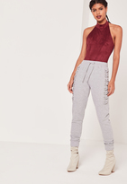 Missguided Lace up Eyelet Side Joggers Grey