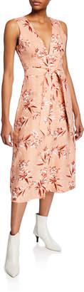 Joie Ethelda Floral-Print V-Neck Sleeveless Midi Dress