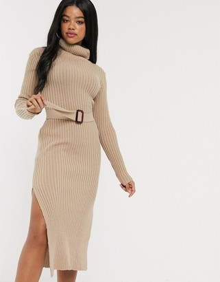 In The Style x Billie Faiers knitted roll neck midi dress with belt in camel