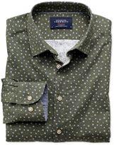 Charles Tyrwhitt Slim Fit Olive Paisley Print Cotton Dress Shirt Size XS