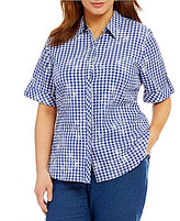 Allison Daley Plus Roll-Tab Sleeve Gingham Print Button Front Shirt