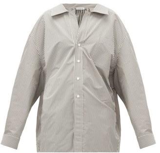 Balenciaga Swing Oversized Striped Cotton-blend Shirt - Black White