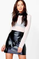 boohoo Amalah Leather Look Ruffle Front Mini Skirt