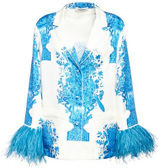 Valentino Delft Print Twill Shirt W/ Feather Cuffs