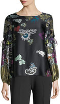 Josie Natori Tie-Sleeve Abstract Dragon-Print Silk Blouse