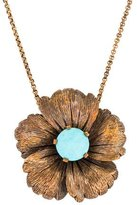 Stephen Dweck Turquoise Flower Pendant Necklace