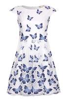 Yumi Butterfly Print Cap Sleeve Dress