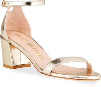 Stuart Weitzman Simple Metallic Ankle-Strap Sandals