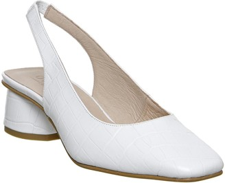 Office Manners Slingback Flared Court Heels Patent White Croc Leather