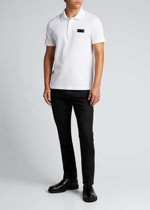 Versace Men's Polo Shirt w/ Metal Logo Plaque