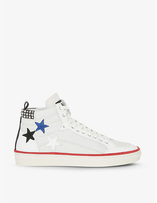 The Kooples Star applique leather high-top trainers