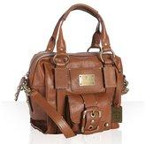cognac leather buckle front pocket satchel