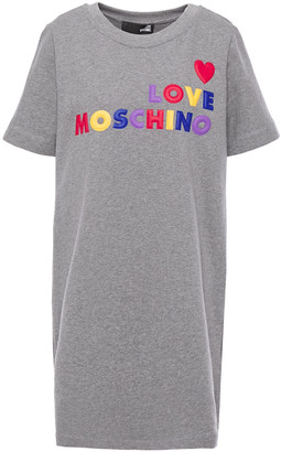Love Moschino Embossed French Cotton-terry Mini Dress