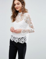 Vila High Neck All Over Lace Top