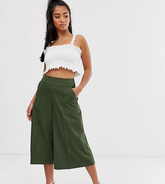 Asos DESIGN Petite tailored clean culottes-Green