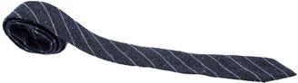 Brunello Cucinelli Blue Diagonal Striped Woven Silk Classic Tie