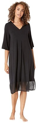 Donna Karan Modal Spandex Sleepwear Long Sleepshirt (Black) Women's Pajama