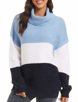 MAGNIVIT Women Sweaters for Winter Stylish Tops Loose Knitted Jumper Ladies Warm Comfy Turtleneck Sweater Chunky Ribbed Jumpers Red