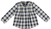 Mayoral Studded Plaid Pintucked Blouse, Navy, Size 3-6