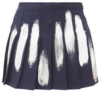 Germanier - Hand-painted Pleated Mini Skirt - Navy Multi