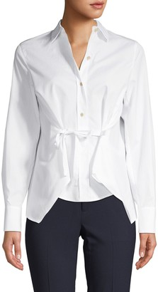 Vince Tie-Front Cotton Shirt