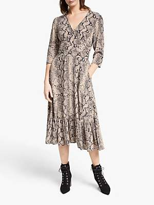 Somerset by Alice Temperley Python Ruffle Tier Dress, Neutral
