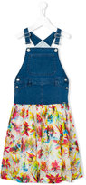 Junior Gaultier denim and chiffon dungaree dress