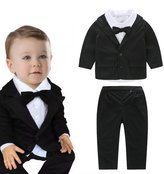 Chinatera 3pcs Baby Boy Formal Party Wedding Suit Bow Tie Shirt + Coat + Pants