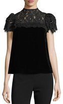 Rebecca Taylor Mock-Neck Lace-Yoke Short-Sleeve Velvet Top