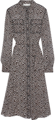 Diane von Furstenberg Antonette Belted Printed Georgette Shirt Dress