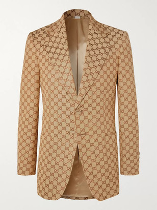Gucci Brick Logo-Jacquard Cotton-Blend Blazer