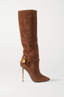 Tom Ford Padlock Embellished Suede Knee Boots - Tan