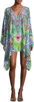 Camilla Split-Neck Printed Embellished Kaftan Coverup
