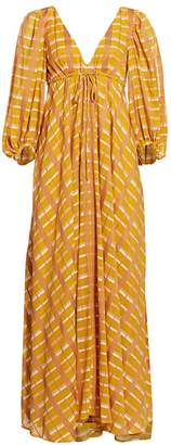 STAUD Amaretti Checker Puff-Sleeve Maxi Dress